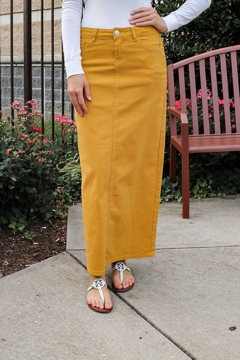 Hailee Long Denim Skirt (Mustard)