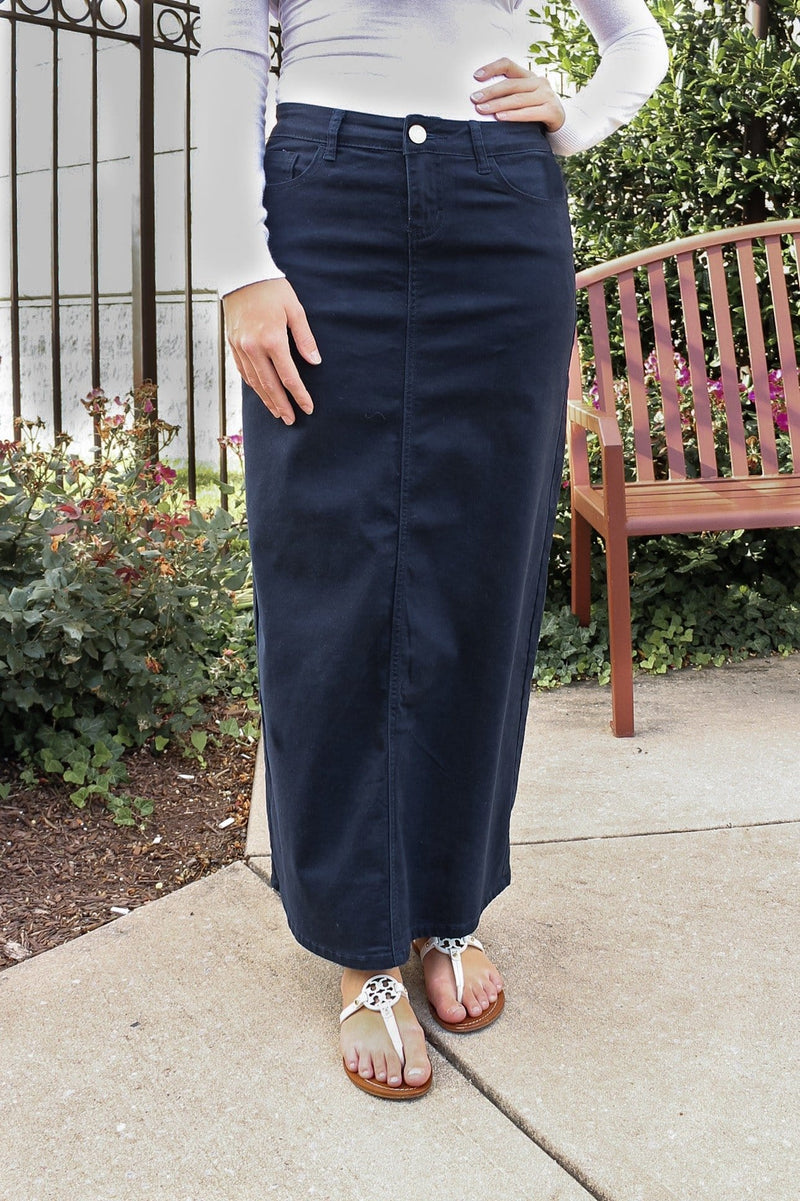 Hailee Long Denim Skirt (Navy)