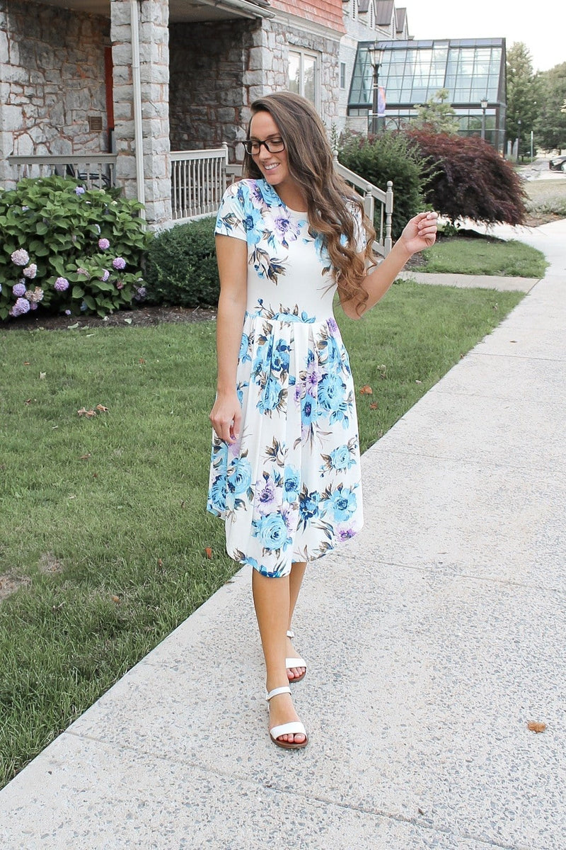 Hello Sunshine Floral Dress (Blue)