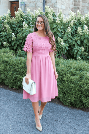 Julia Lace Dress (Pink)