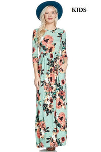 GIRLSJulia Mint Floral Maxi Dress