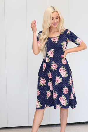 Natalie Floral Polka Dot Dress (Navy)