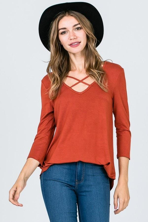 Criss-cross Blouse (Rust)