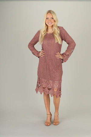 Lydia Crochet Dress in Mauve (Petite length)