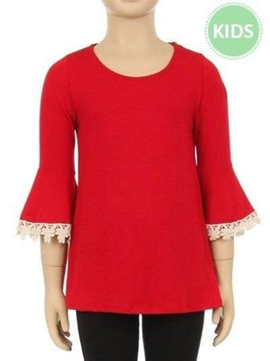 Little Girls in Lace Blouse- Red