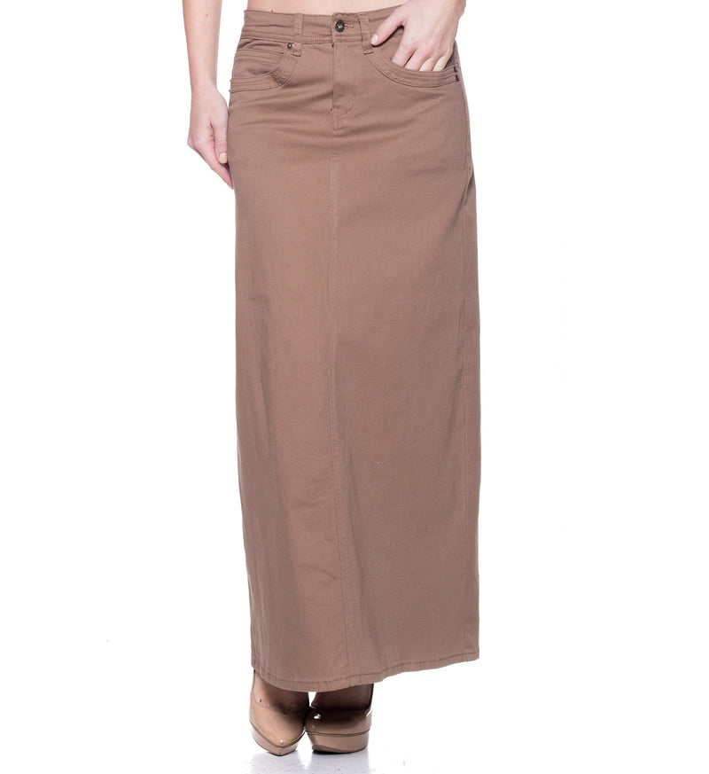 Khaki Straight Denim Skirt
