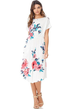 Abbey Floral Midi Dress (White)