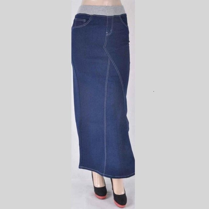 Karla Long Blue Denim Skirt