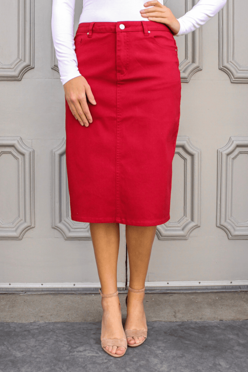 JDA Red Denim Skirt