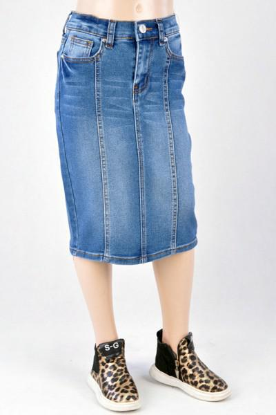GIRLS Panel Denim Skirt (Indigo)