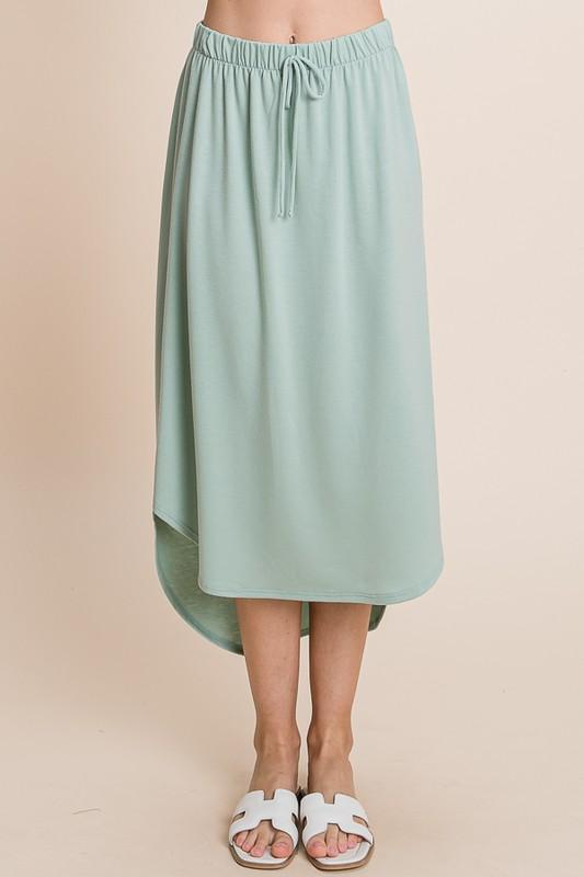 Drawstring Hi-Low Skirt (Sage)