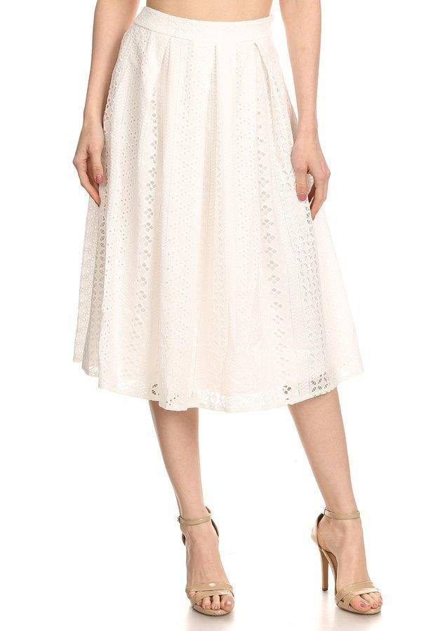 Patterned Lace Ball Gown (White)