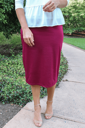 "27"" Burgundy Ultra Comfort Ponte Knit Skirt"