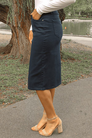 JDA Navy Denim Skirt