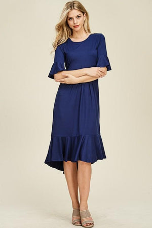 Ruffle Midi Layering Dress (Navy)
