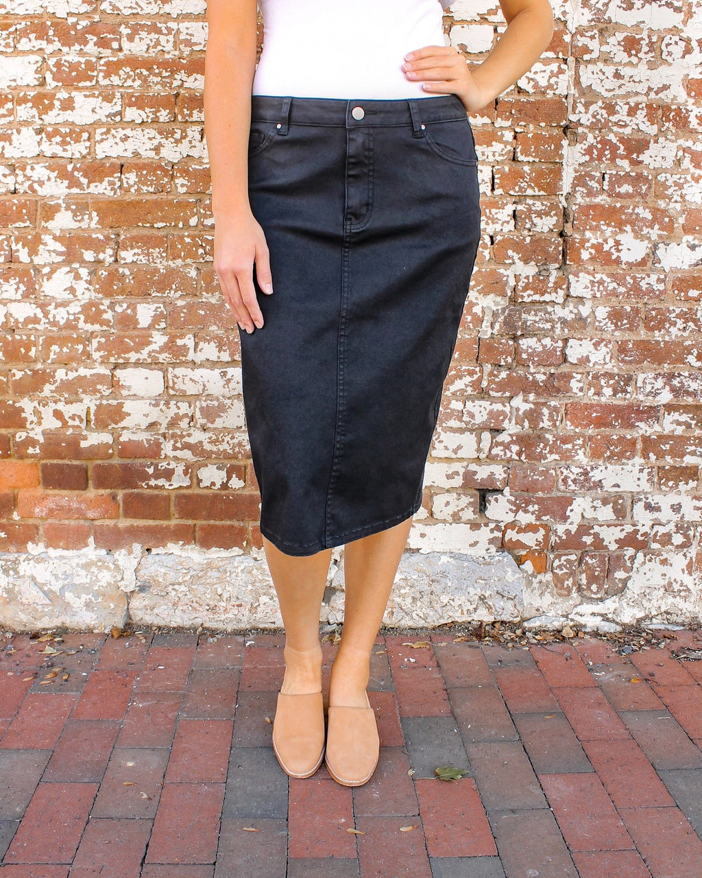 "24"" JDA Black Denim Skirt"