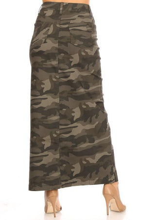 Camouflage Long Denim Skirt