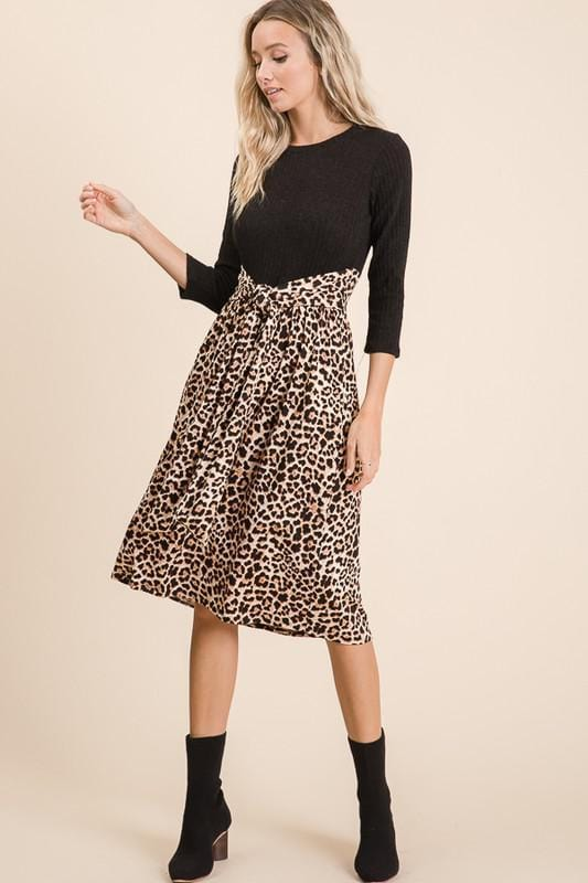 Tie the Knot Leopard Dress (BLK)