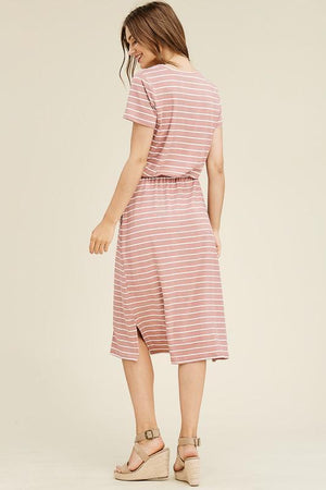 Striped Lounge Dress (Mauve)