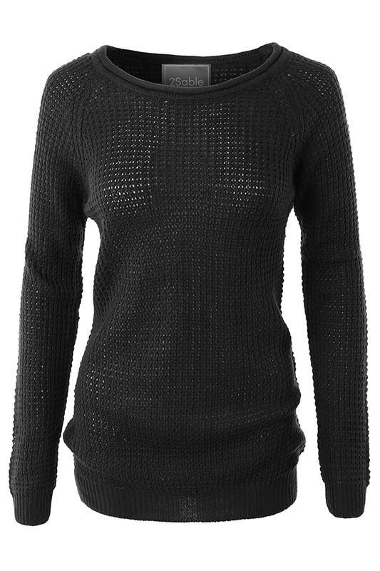 Keep You Warm Waffle Knit Sweater (BLK)