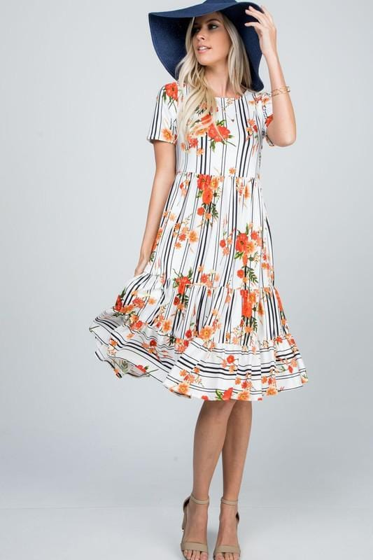 Tiered Garden Swing Dress (White)