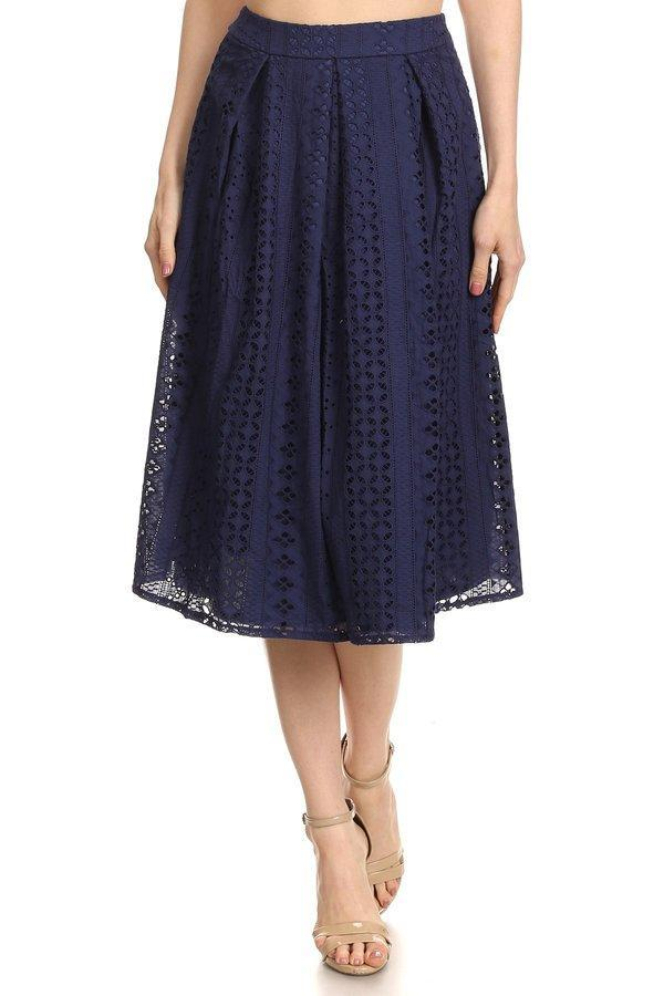 Patterned Lace Ball Gown (Navy)