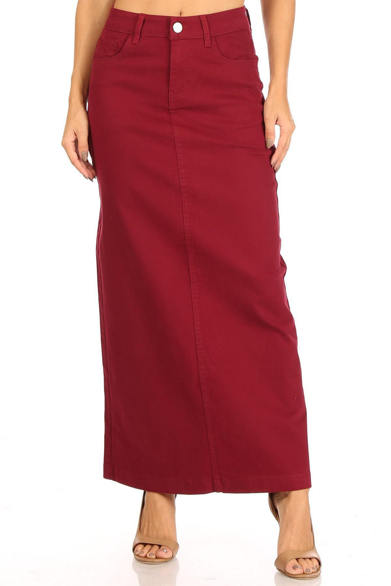 Ava Long Color Denim Skirt (Wine)