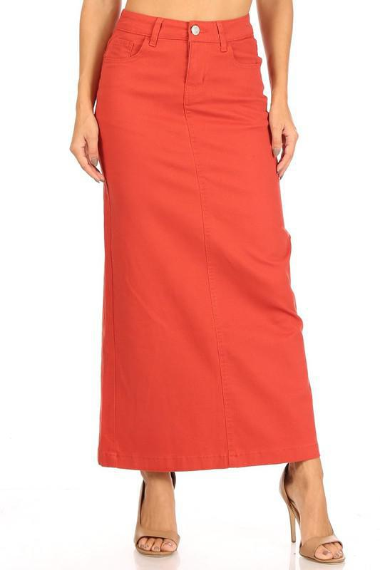 Ava Long Color Denim Skirt (Terra Cotta)