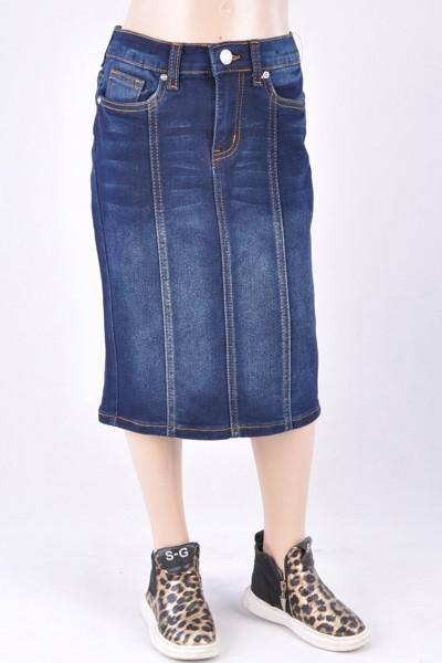 GIRLS Panel Denim Skirt (Dk. Indigo)