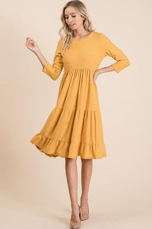 Swiss Dot Southern Bell Dress (Mustard)
