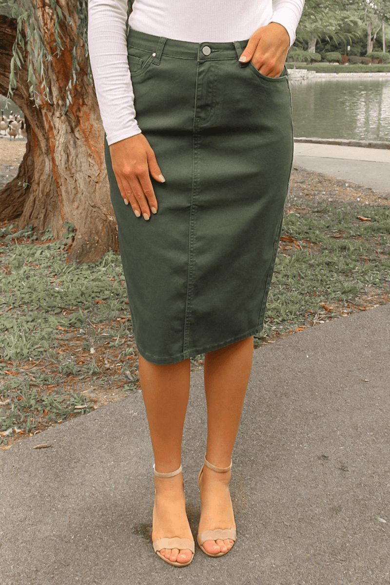 JDA Hunter Green Denim Skirt