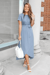 Marissa Lace Maxi Dress in Dusty Blue