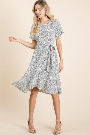Tanzanian Pattern Swing Dress (White)