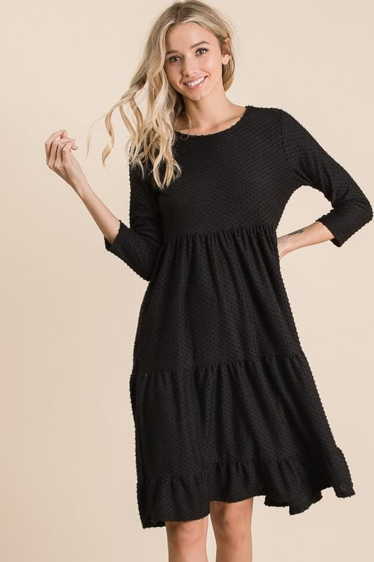 Swiss Dot Southern Bell Dress (BLK)