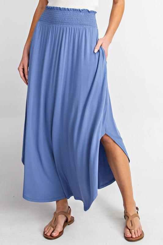 High-Rise Swing Maxi Skirt (Dusty Blue)
