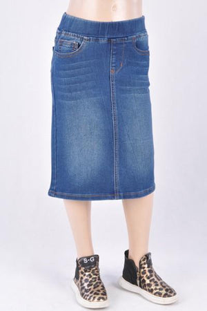 GIRLS Classic Waistband Denim Skirt (Indigo)