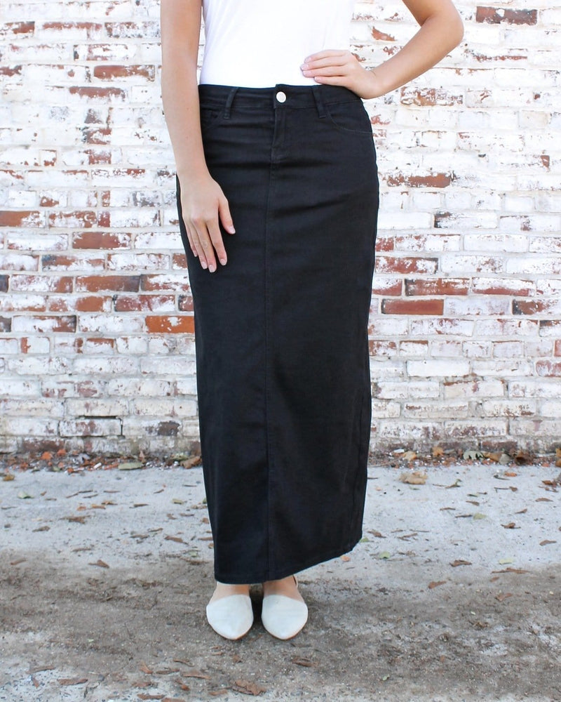 Hailee Long Denim Skirt (Black)