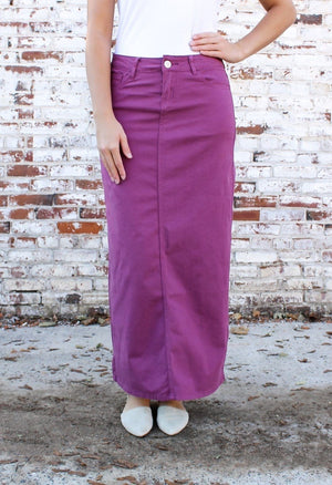 Hailee Long Denim Skirt (Plum)