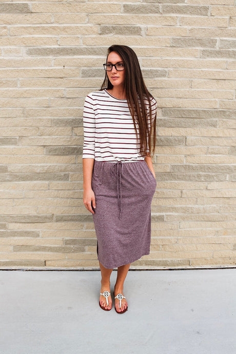 Two-tone Striped Lounge Dress (Plum)