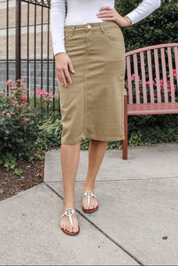 Remi Khaki Denim Skirt