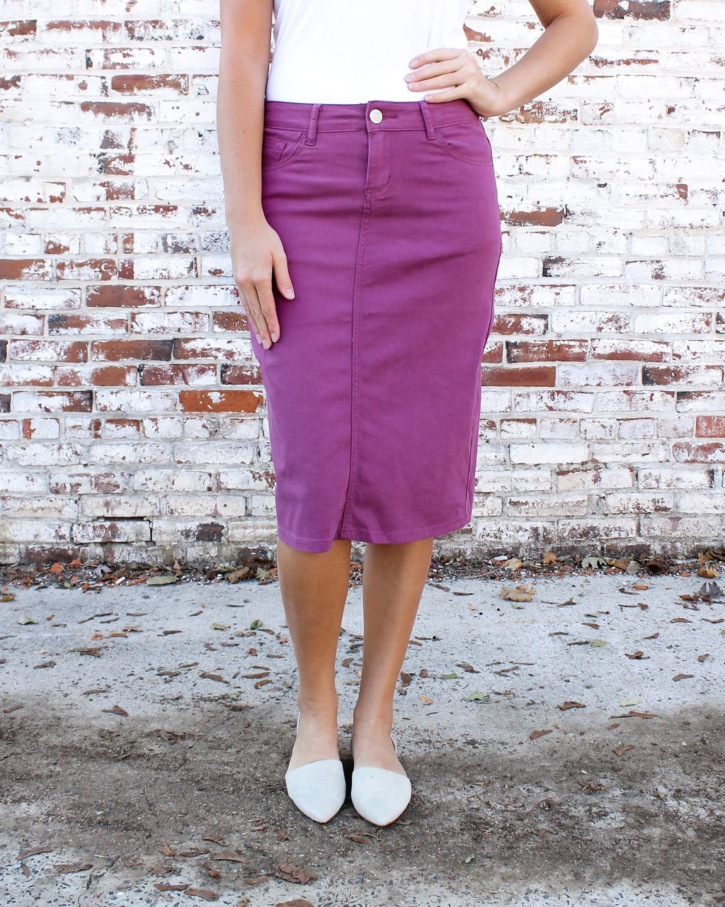 "26"" Plum Denim Skirt"