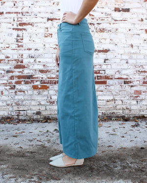 Hailee Long Denim Skirt (Jade)