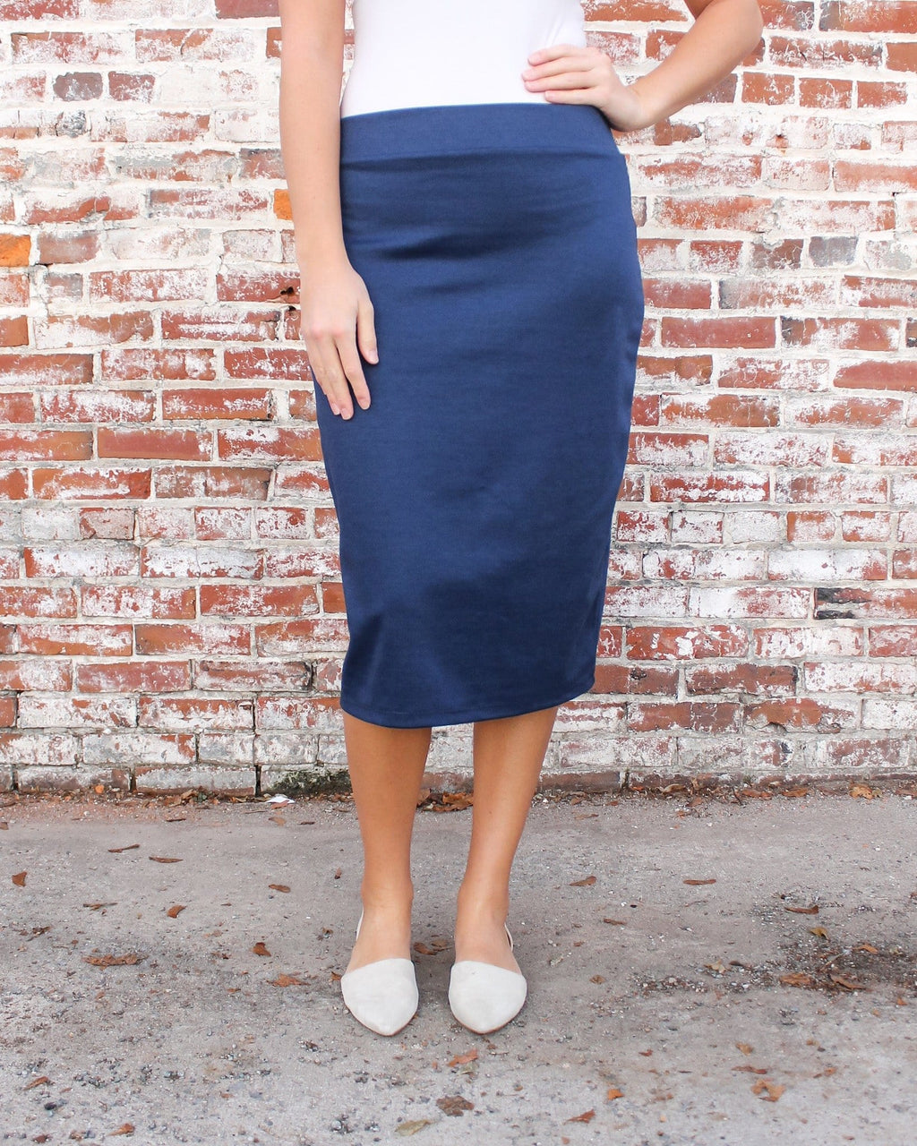 "27"" Navy Ultra Comfort Ponte Knit Skirt"