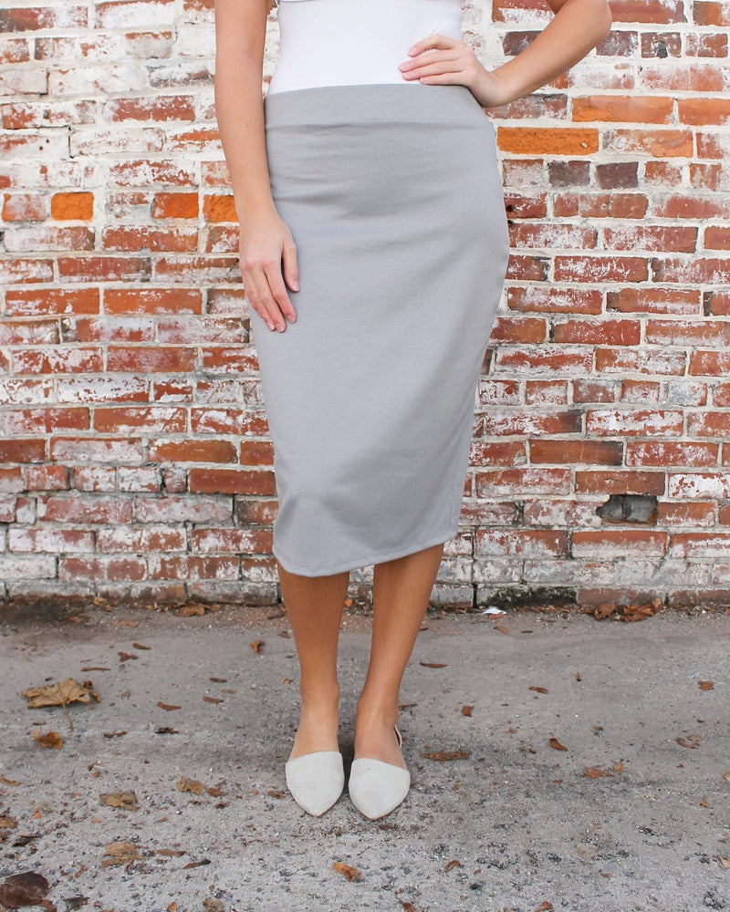 "27"" Gray Ultra Comfort Ponte Knit Skirt"