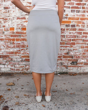 "24"" Gray Ultra Comfort Ponte Knit Skirt"