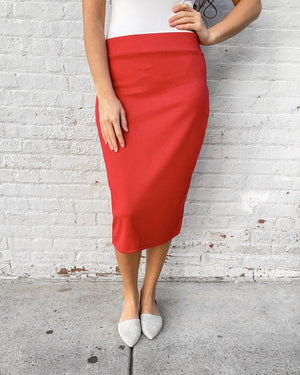 "27"" Red Ultra Comfort Ponte Knit Skirt"