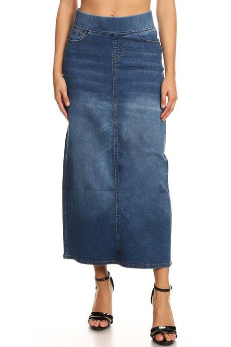 Classic Waistband Long Denim (Indigo)