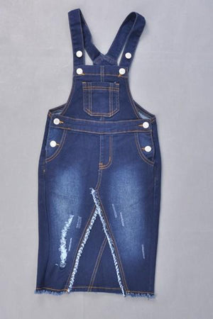 GIRLS Distressed Denim Overalls (DK. Indigo)