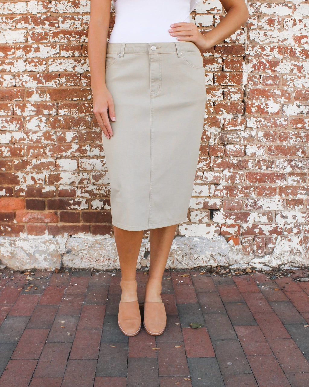 "24"" JDA Lt. Khaki Denim Skirt"