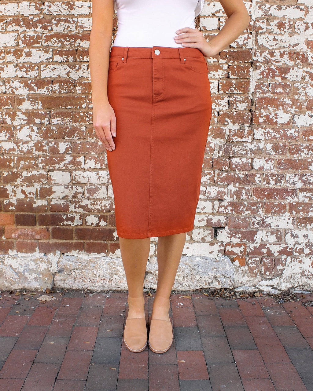 "24"" JDA Rust Denim Skirt"